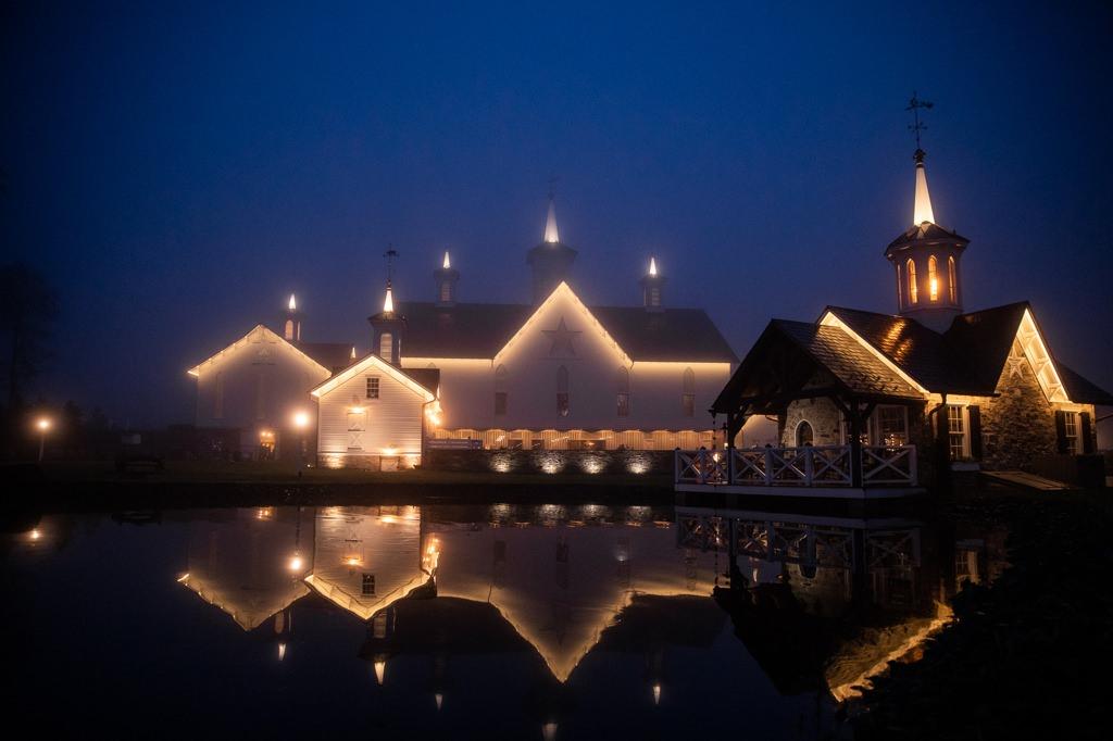 The Star Barn Village At Night Wedding Photo 1